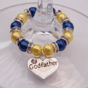 Godfather Wine Glass Charm - Full Sparkle Style